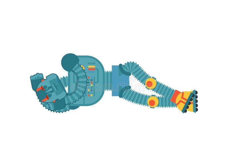 Спать робота Эмоции киборга уснувшие Робототехнический человек дремлющий Vec иллюстрация штока
