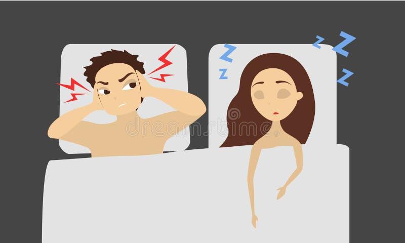Спать храпя женщина бесплатная иллюстрация