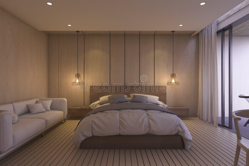 Download спальня перевода 3d роскошная с мягкой кроватью в утре Иллюстрация штока - иллюстрации насчитывающей свет, валик: 81808292