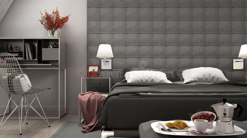 Спальня просторной квартиры минимальная бесплатная иллюстрация