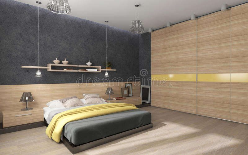 Спальня с большим шкафом иллюстрация вектора
