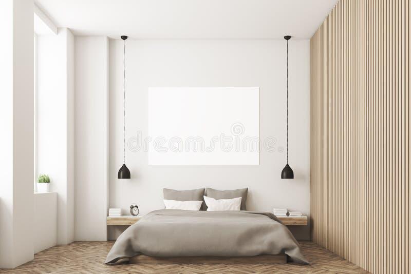 Спальня с изображением и деревянной стеной иллюстрация вектора