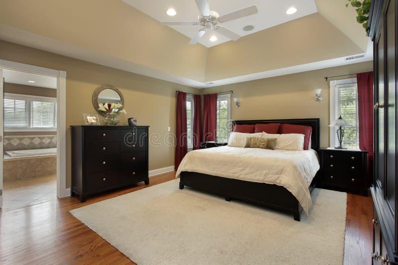 Спальня хозяев с взглядом ванны стоковая фотография