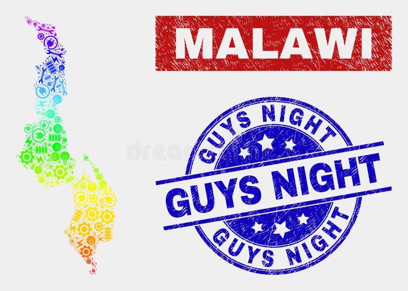 Спектральная карта Малави собрания и огорчить печати ночи парней бесплатная иллюстрация