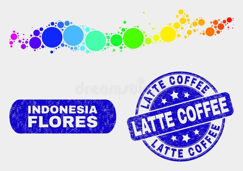 Спектральные острова Flores мозаики карты Индонезии и уплотнения печати кофе Latte Grunge иллюстрация вектора