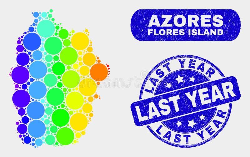 Спектральный остров Flores мозаики карты Азорских островов и огорчить в прошлом году уплотнение бесплатная иллюстрация