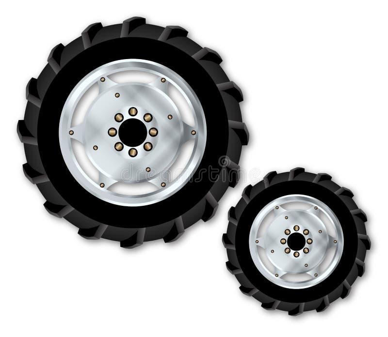 Спереди и сзади колеса трактора на белизне бесплатная иллюстрация