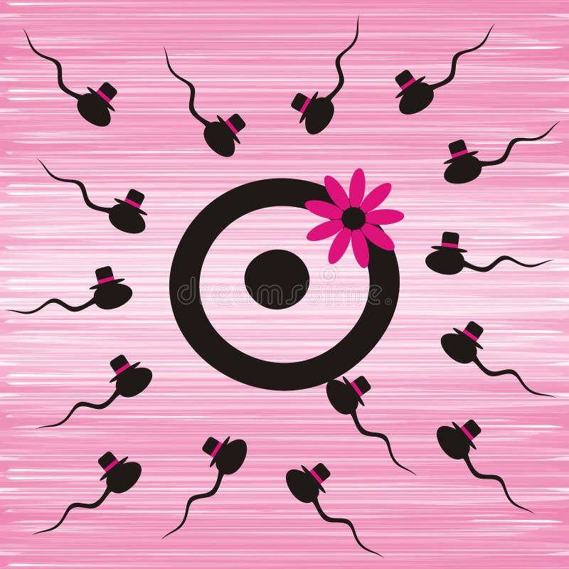 Спермы и яичко иллюстрация вектора