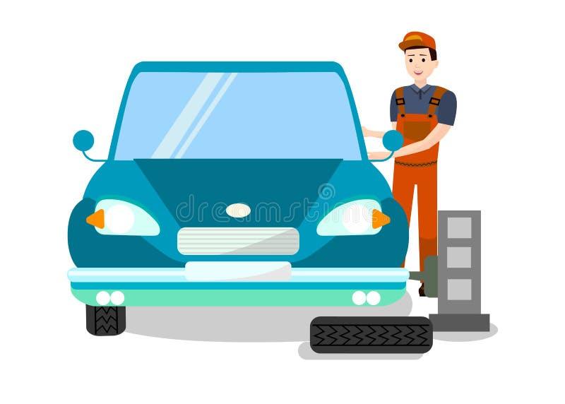 Специалист автошины приспосабливая на иллюстрации работы плоской бесплатная иллюстрация