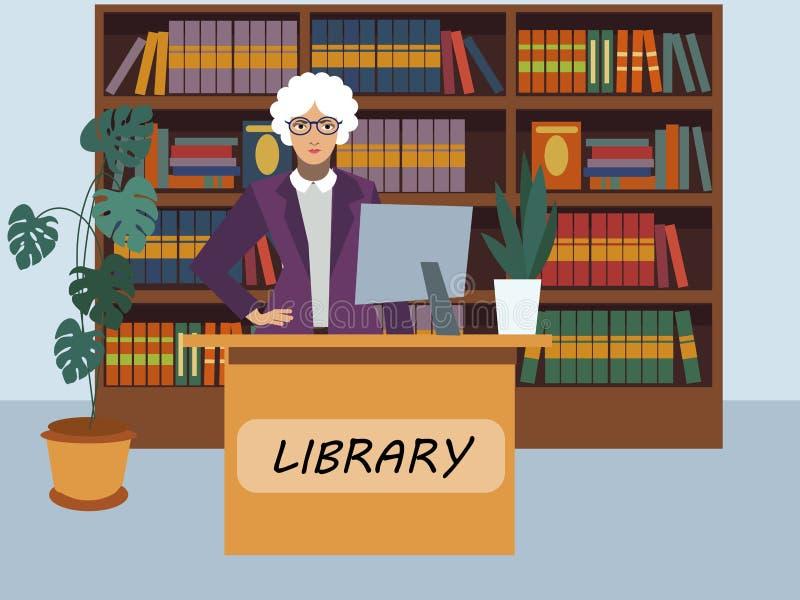 Специалист по обслуживаний посетителя библиотеки библиотекаря в минималистичном стиле r иллюстрация штока