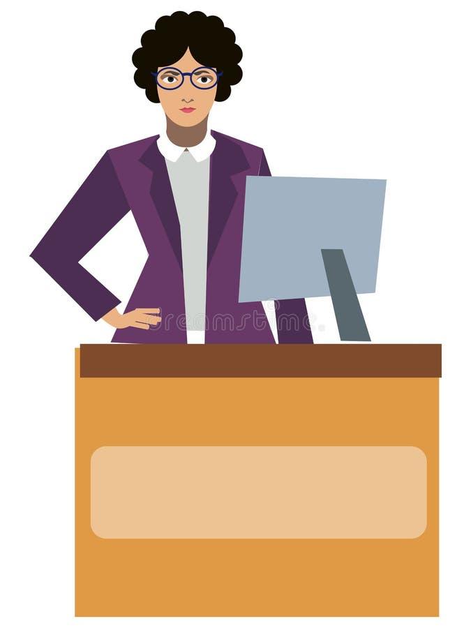 Специалист по обслуживаний посетителя библиотеки библиотекаря изолированный на белой предпосылке r r иллюстрация вектора