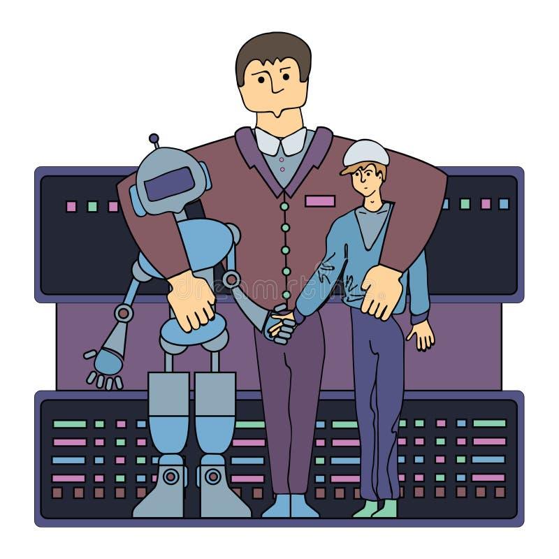 Специалист на отношениях между человеком и роботом Одна из работ будущего Иллюстрация вектора, изолированная дальше бесплатная иллюстрация