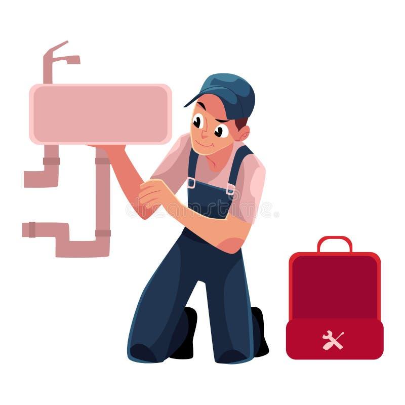 Специалист по трубопровода, водопроводчик ремонтируя кухонную раковину, таз мытья ванной комнаты бесплатная иллюстрация