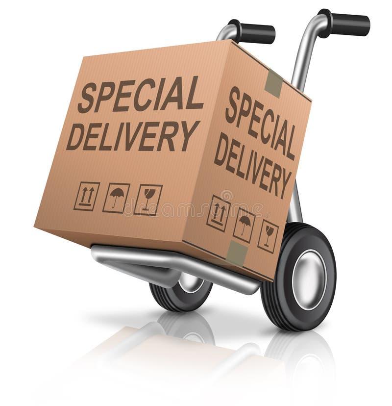 Специальная картонная коробка поставки пакета иллюстрация штока