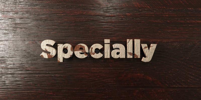 Специально - grungy деревянный заголовок на клене - 3D представило изображение неизрасходованного запаса королевской власти иллюстрация вектора