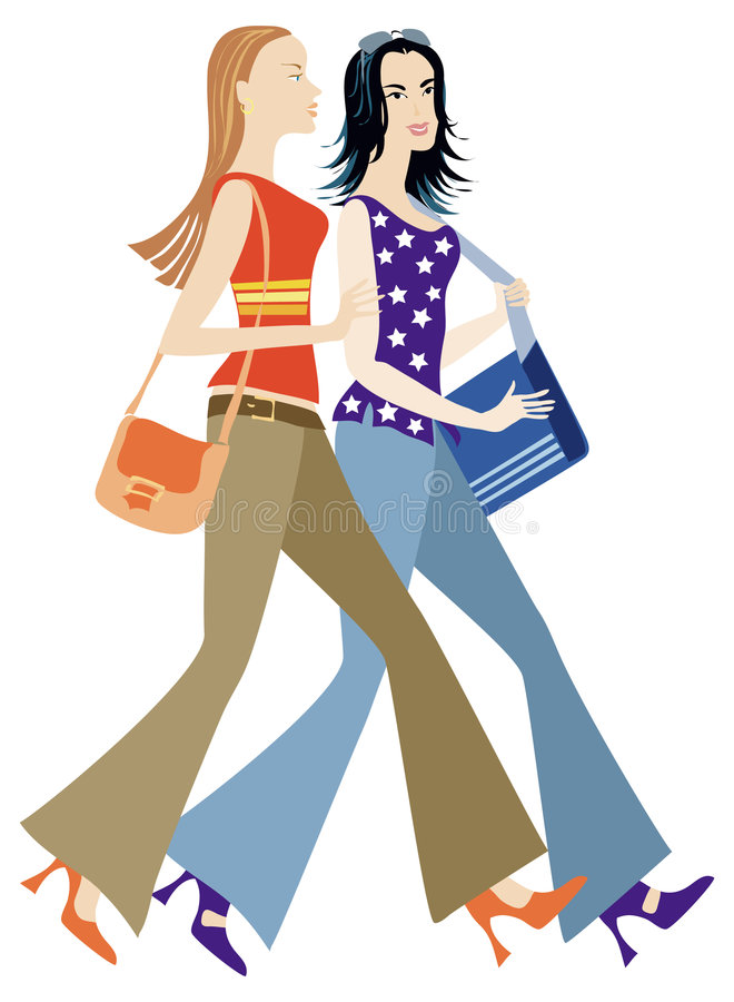 спешность 2 девушок иллюстрация штока