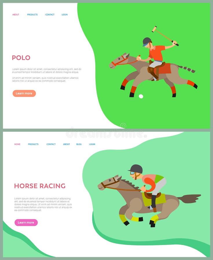 Спина лошади людей ехать, лошадиные скачки, вектор поло иллюстрация штока