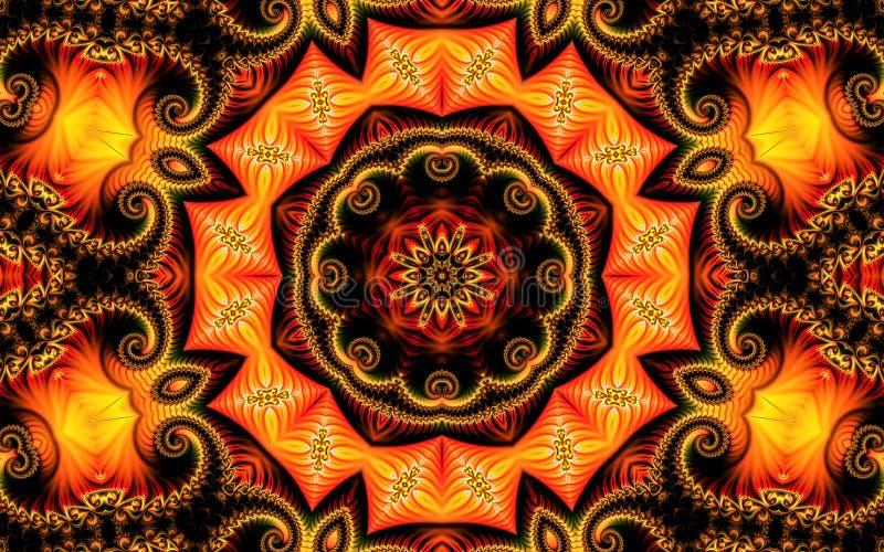 Спирали и орнамент фрактали красивой абстрактной предпосылки состоя из на желтой оранжевой предпосылке в форме мандалы бесплатная иллюстрация