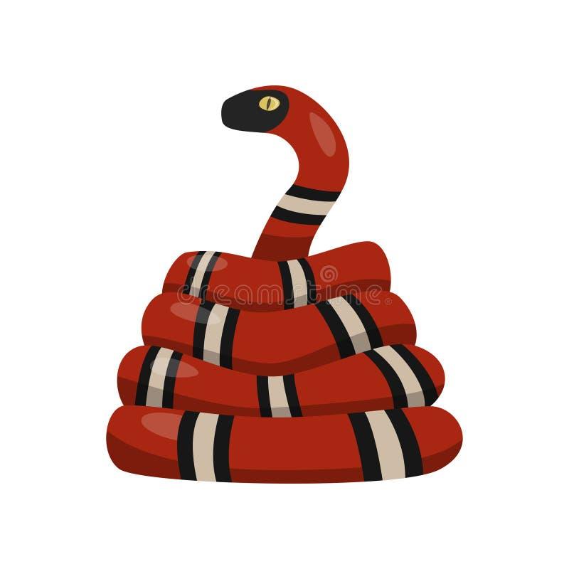 Спиральная красная змейка на белой предпосылке смотря с желтым глазом на телезрителе иллюстрация штока