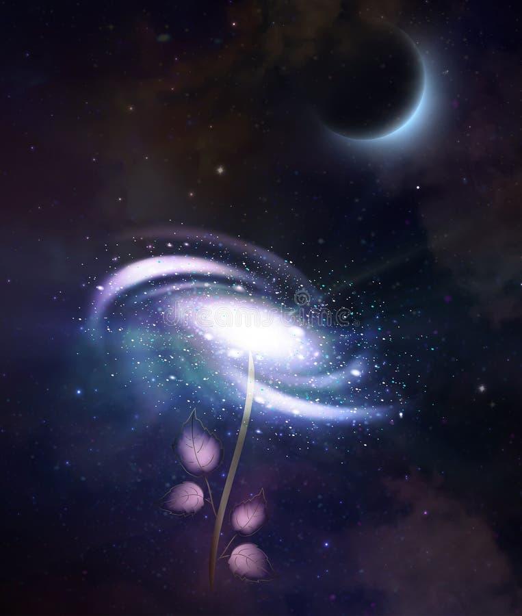Спиральная розовая галактика, абстрактная любовь, расширение вселенн иллюстрация штока