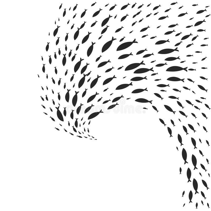 Спиральное мелководье графических рыб иллюстрация штока