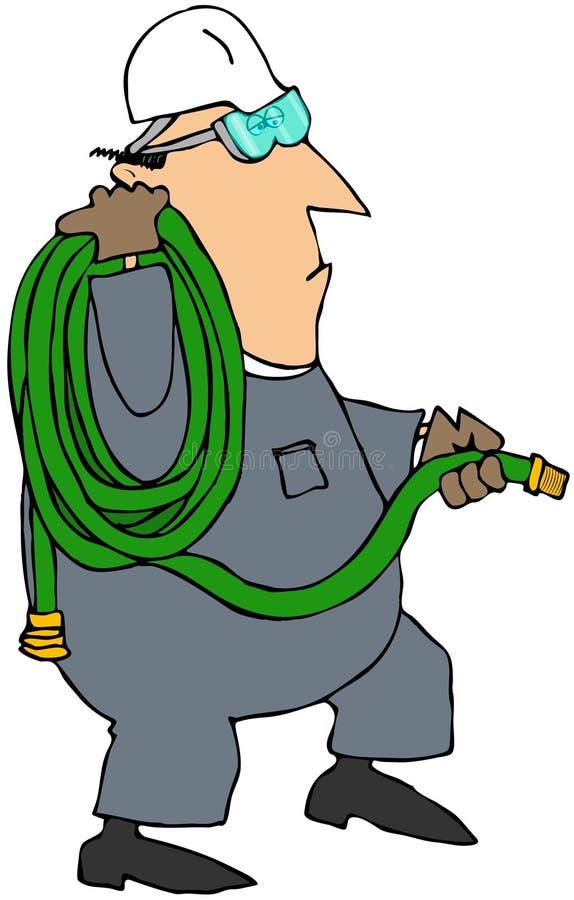 спиральный работник нося шланга сада иллюстрация штока