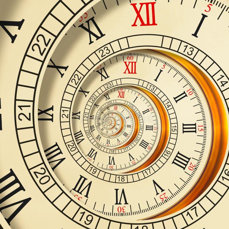Спираль высокого разрешения античная старая хронометрирует абстрактную спираль фрактали Предпосылка картины фрактали текстуры час иллюстрация штока