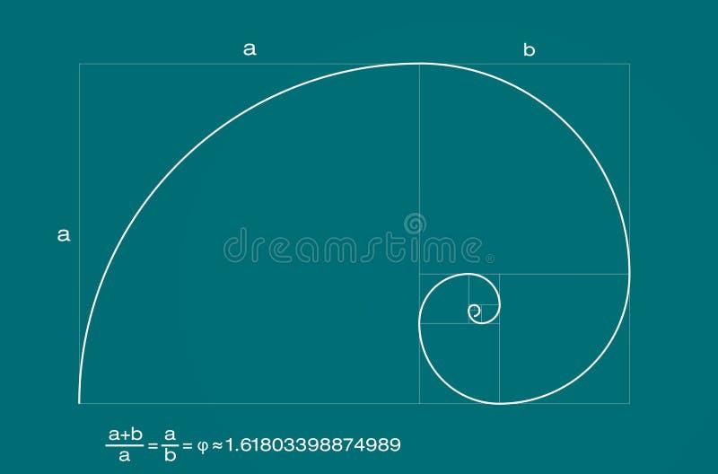 спираль коэффициента fibonacci золотистая иллюстрация вектора