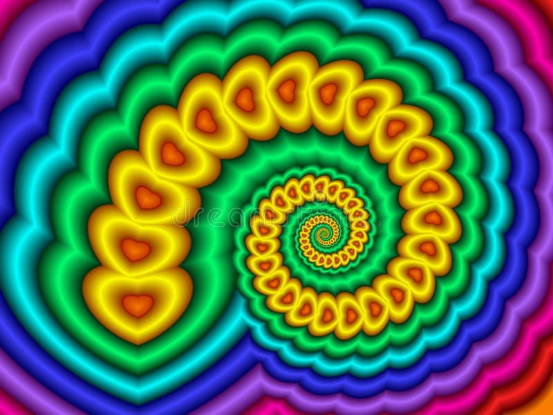 спираль радуги сердец иллюстрация вектора
