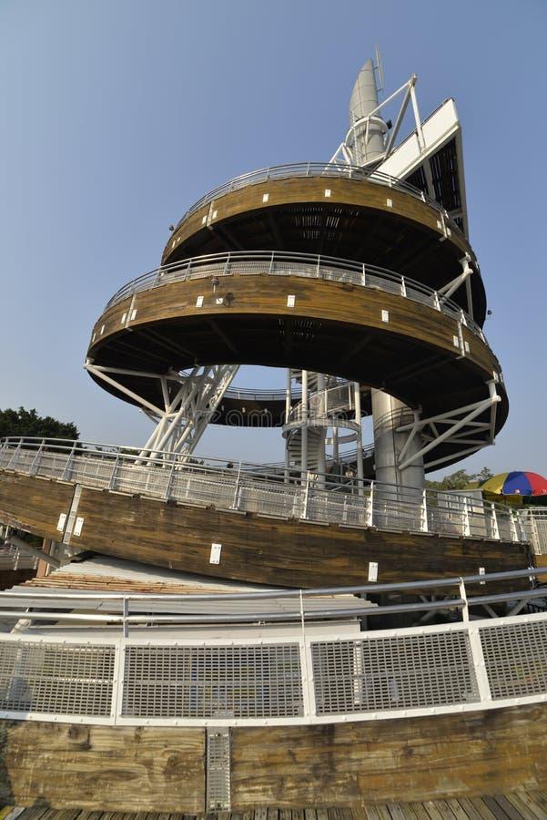 Спиральная башня бдительности парка портового района Tai Po стоковое изображение