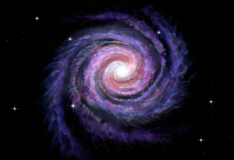 Спиральная галактика, иллюстрация млечного пути иллюстрация вектора