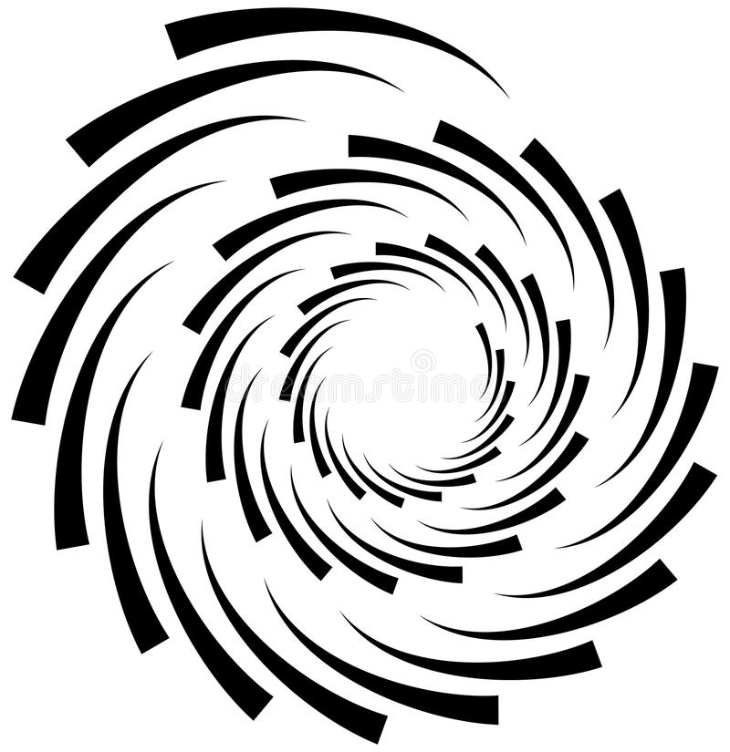 Спиральный элемент Концентрическая завихряясь форма при линии вращая внутри иллюстрация штока