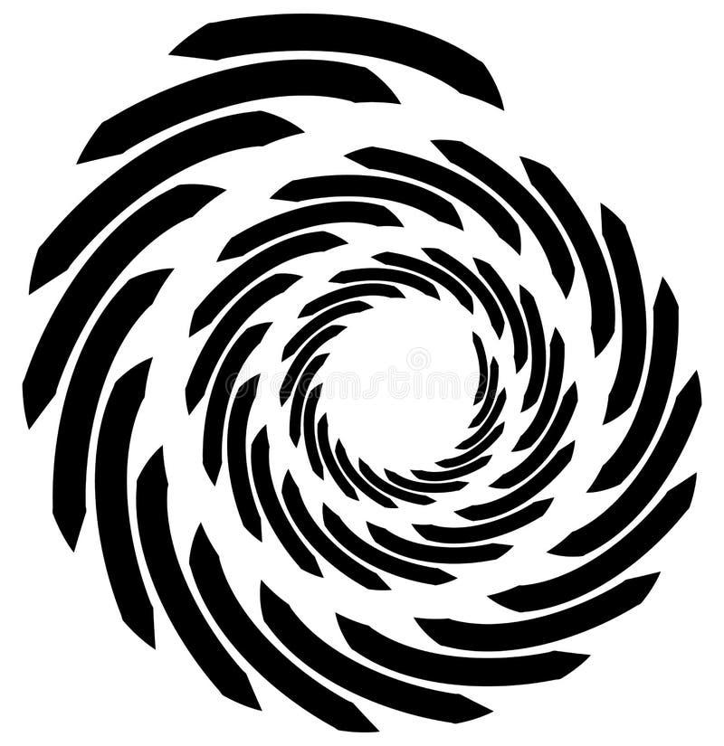 Спиральный элемент Концентрическая завихряясь форма при линии вращая внутри иллюстрация вектора