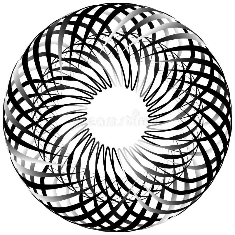 Спираль изолированная на белизне Вращающ, концентрическая форма формируя g иллюстрация вектора