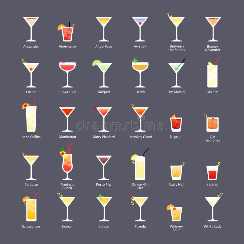 Спиртные коктеили, коктеили IBA официальные Unforgettables Значки установили в плоский стиль на темной предпосылке иллюстрация вектора