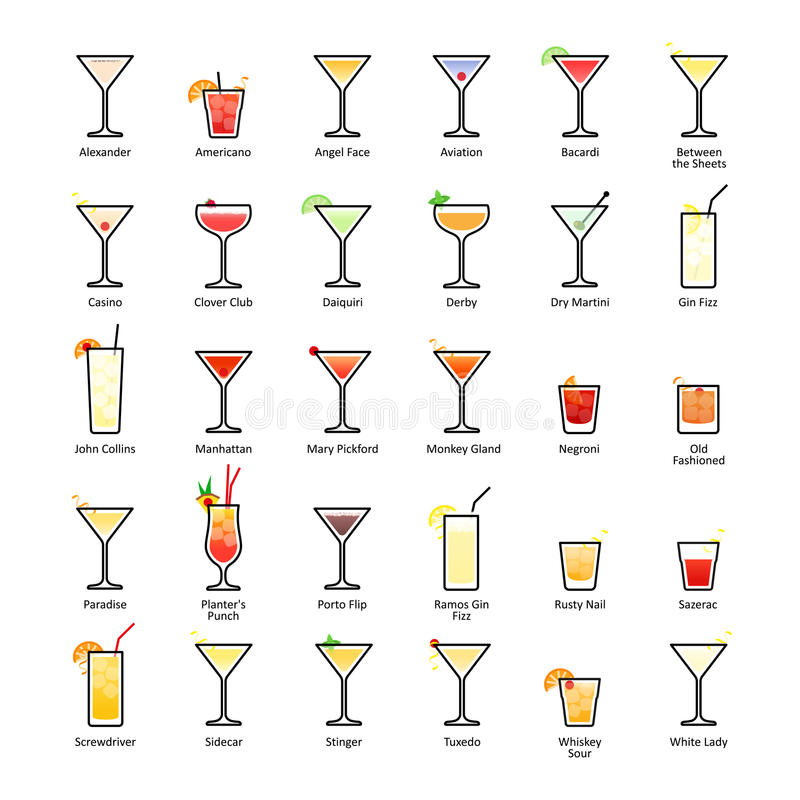 Спиртные коктеили с названиями Коктеили IBA официальные, Unforgettables Значки установленные в плоский стиль иллюстрация вектора