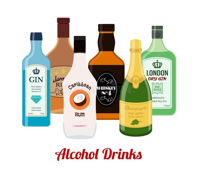 Спирт выпивает - джин, ром, виски, шампанское Стиль шаржа плоский вектор иллюстрация штока
