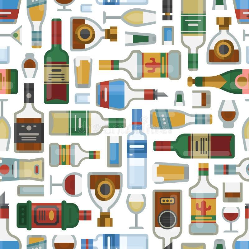 Спирт выпивает контейнера лагера картины бутылки коктеиля иллюстрацию вектора стекел безшовного пьяную различную иллюстрация штока