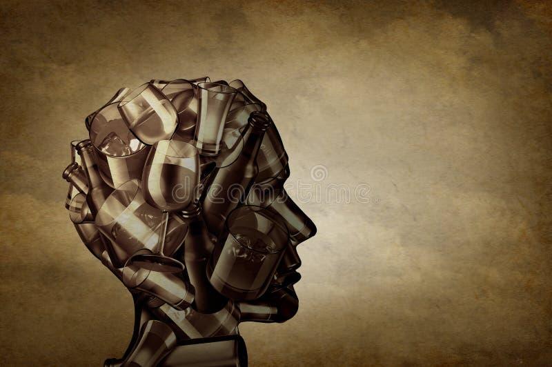 Спирт и депрессия иллюстрация вектора