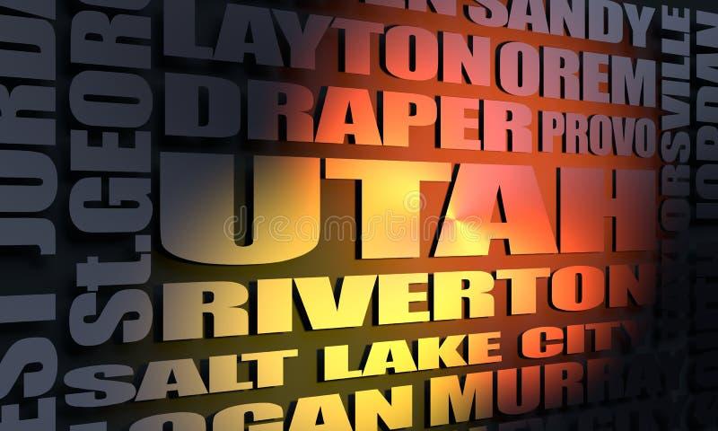 Список городов положения Юты стоковое изображение rf