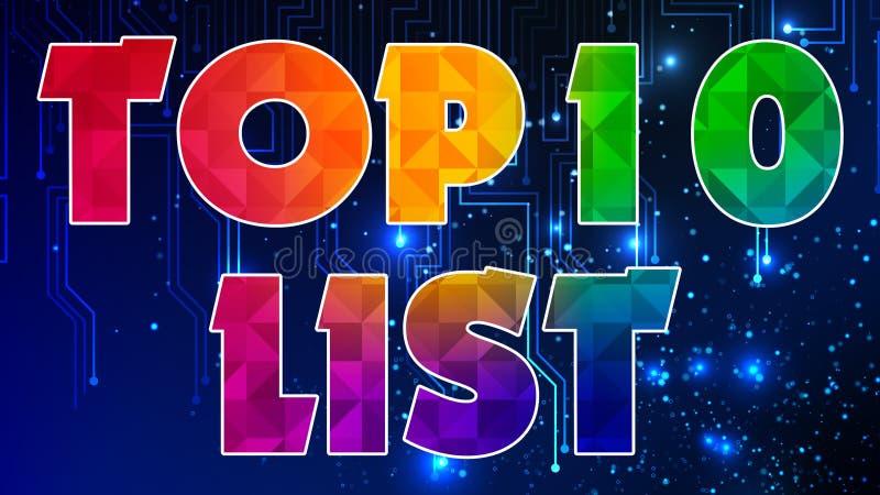 Список 003 10 лучших - готовый график иллюстрация штока
