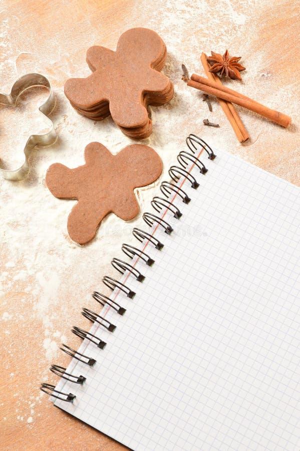 Список рождества тесто для пряника Тетрадь, пряник стоковое изображение