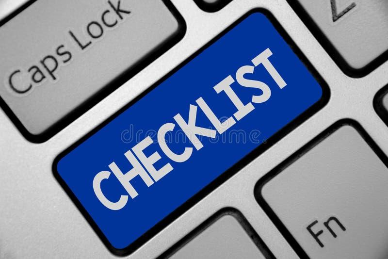 Список смысла концепции контрольного списока сочинительства текста почерка вниз детальной работы как гид делать что-то клавиатура иллюстрация штока