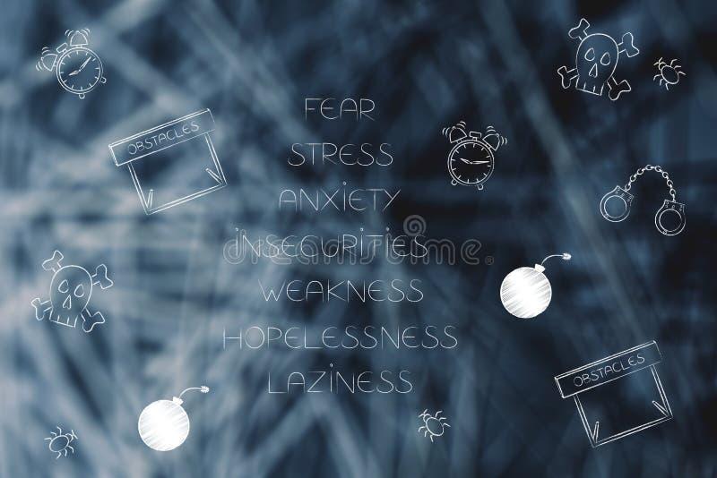 Список усиленных ориентаций с страх-тематическими значками стоковое фото rf
