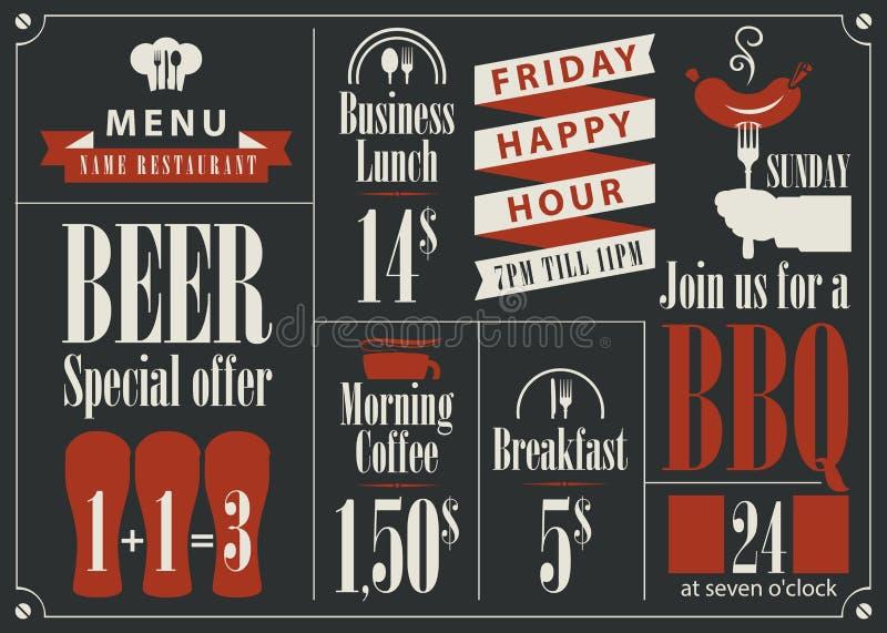Список цен на товары для меню ресторана бесплатная иллюстрация