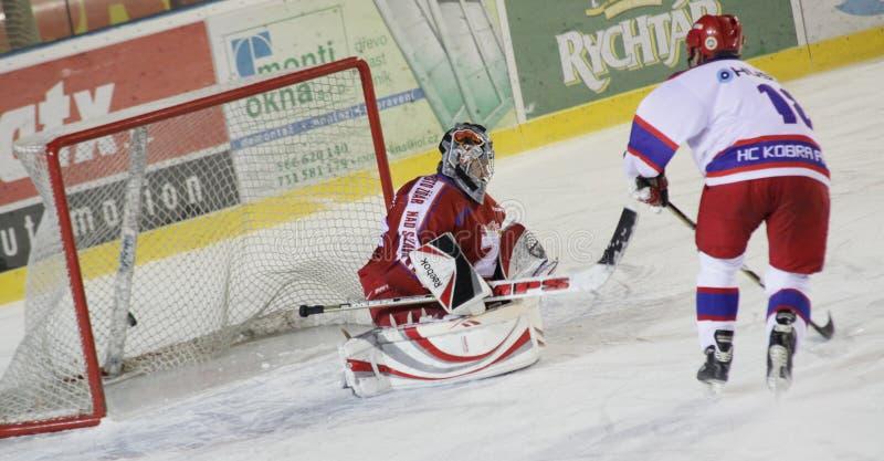 спичка льда хоккея цели стоковая фотография rf