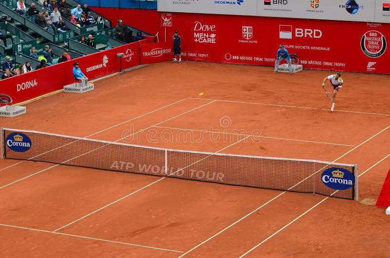 Спичка тенниса - Gael Monfils против Пол-Henri Mathieu стоковые фото