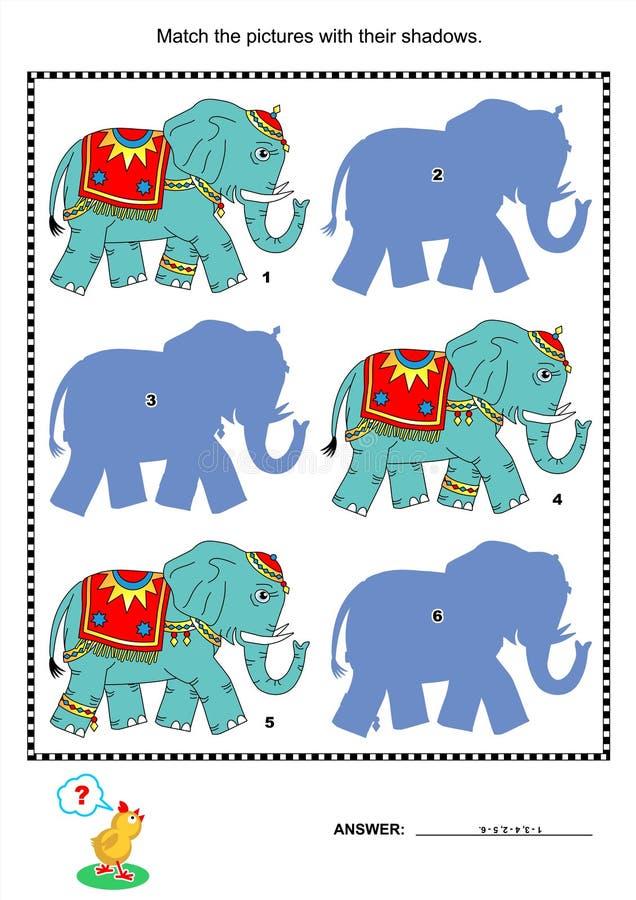 Спичка для того чтобы затенять игру - слонов иллюстрация вектора