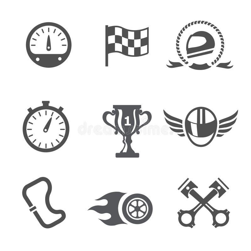 Спидометр гонки установленный значками, шлем и чашка, выигрывая отделка, флаг и конкуренция скорости, вектор бесплатная иллюстрация