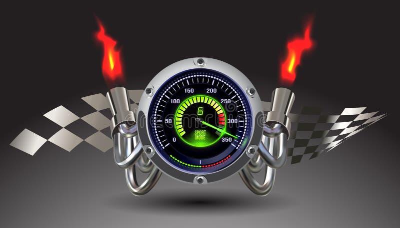 Спидометр загоренный вектором иллюстрация вектора